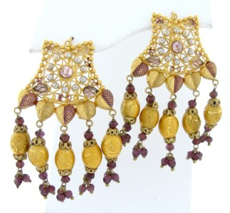 Details about 22K YELLOW GOLD ENAMEL BEADED INDIAN BRIDAL EARRINGS