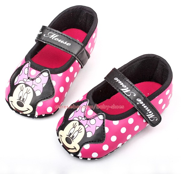 Baby Girls Polka Dot Minnie Mouse Walking Shoes Size 1 2 3