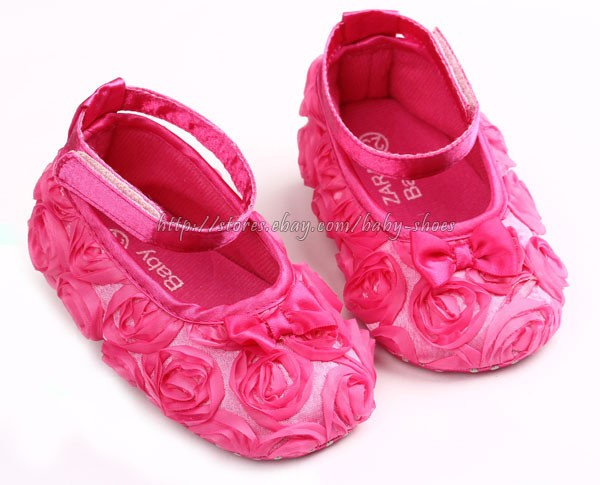 Hot Pink Rose Baby Girls Walking Shoes Size 1 2 3