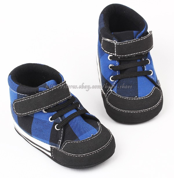 Blue & Black Plaid Baby Boy Walking Shoes Baseball Boot