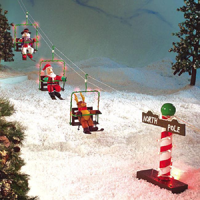 Animated ski lift santa with his friends reindeer snowman