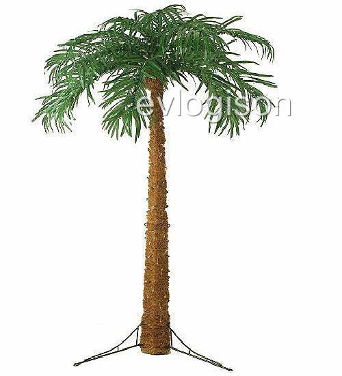 Lighted Tropical Hawaiian 7.5-Ft Realistic Palm Tree