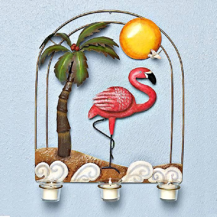 Tropical Scene Flamingo Metal Candle Sconce Wall Da?cor - Candle Holders & Accessories