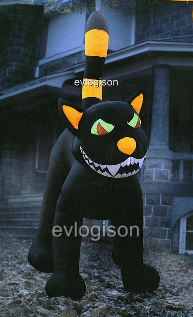 9ft jumbo animated lighted inflatable black cat halloween for Motor for inflatable decoration