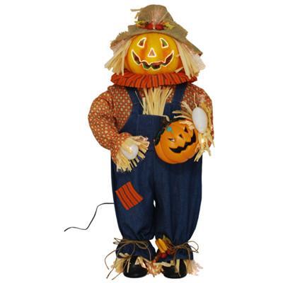 3 ft pumpkin fiber optic halloween scarecrow indoor for Fiber optic halloween decorations home