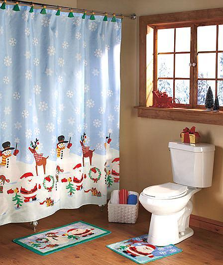 christmas bath set shower curtain 12 shower hooks rug contour rug ebay. Black Bedroom Furniture Sets. Home Design Ideas