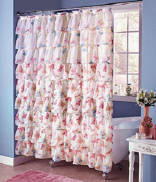 ruffled butterfly shower curtain 72in 183cm ebay