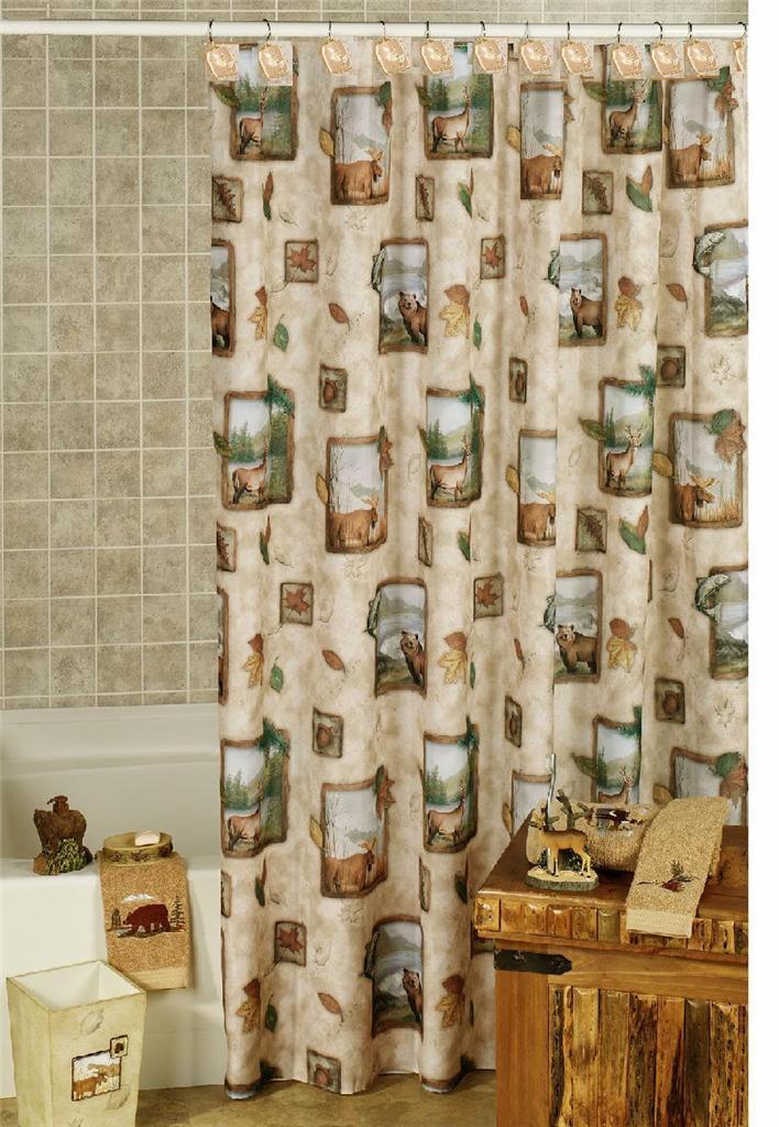 ... Moose Bear Buck Bass Rustic Shower Curtain and 12 Curtain Hooks | eBay