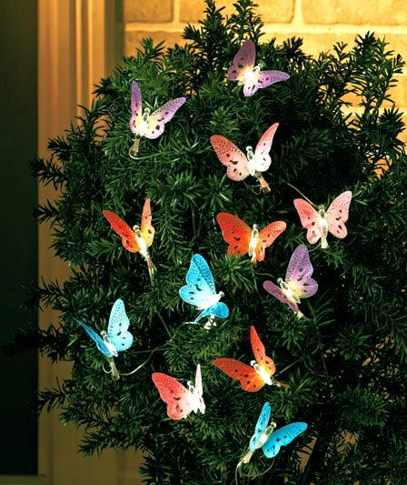 Electric Butterfly String Lights : 12 Fiber-Optic Solar Butterfly String LED Lights Over 10 Feet Long eBay