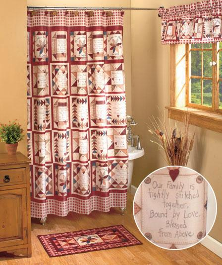 Linda spivey 19 pcs set inspirational patch shower curtain for Bathroom decor collections
