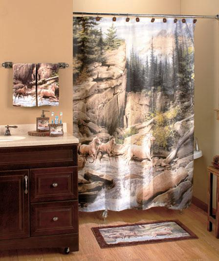Hautman Horse Canyon Western 18 Pcs Set Shower Curtain And Bath Accessories Ebay