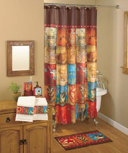 Western 19 Pcs Set Shower Curtain And Bath Accessories Ebay