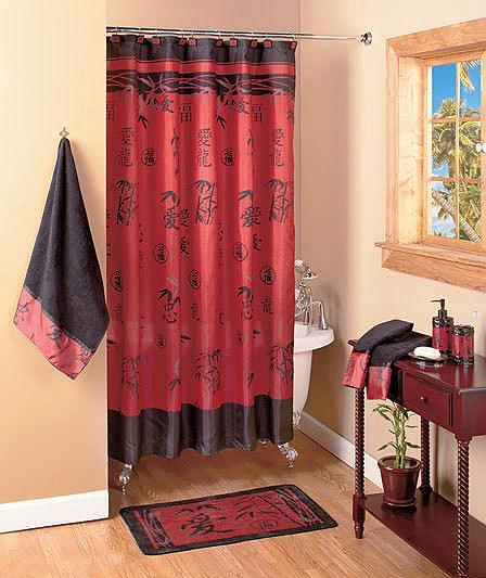 20 pcs set asian bamboo bathroom shower curtain and bath accessories ebay - Oriental bathroom decor ...