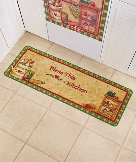 52 rug bless this kitchen country style kitchen runner ebay for Country style kitchen rugs