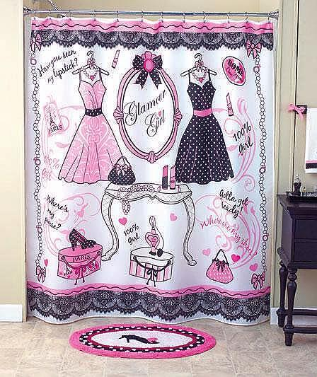 Unique Glamour Girl 6 Pcs La s Room Set Shower Curtain