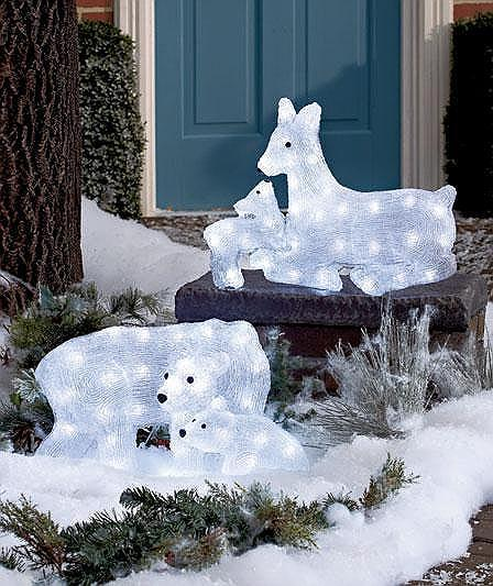 led lighted christmas yard decor mommy and baby reindeer or polar bear. Black Bedroom Furniture Sets. Home Design Ideas