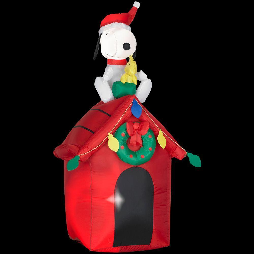 48 airblown inflatables peanuts snoopy doghouse christmas for Airblown christmas decoration
