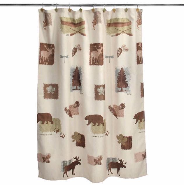 Hunting Bathroom Decor Set : Moose cabin bear deer bathroom collection shower curtain