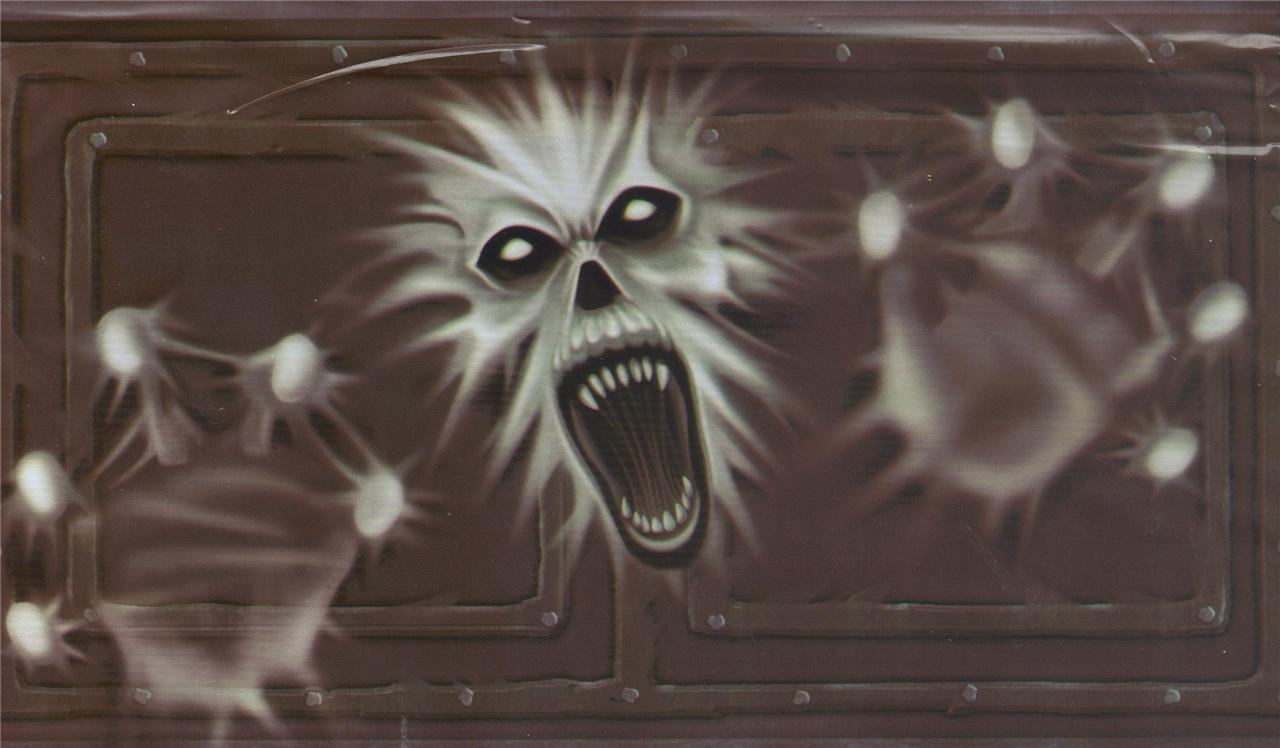 Scary screaming ghost door wall halloween decoration for Decoration murale halloween