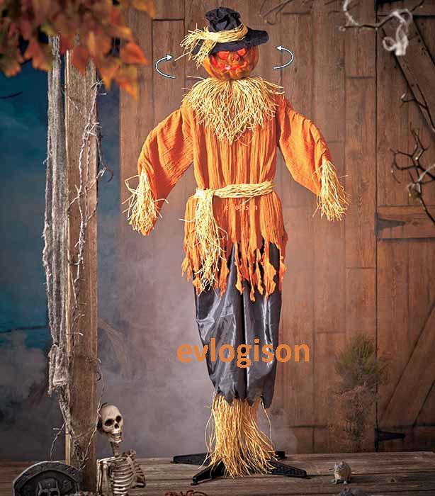 6 ft sooky animated lighted musical scarecrow figurine led for Animated scarecrow decoration