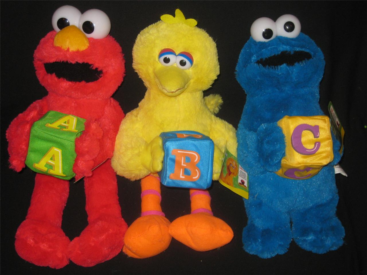 ELMO-BIG-BIRD-COOKIE-MONSTER-SESAME-STREET-LARGE-PLUSH-DOLL-TOY-ABC-SET-NEW