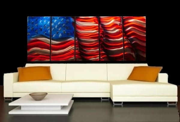 Art abstract metal wall painting decor american flag for Painted american flag wall art