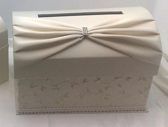 Gift Card Holder For Wedding Reception : Details about Ivory Satin Wedding Reception Gift Card Box Holder