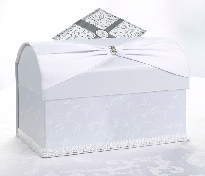 White Birdcage Wedding Gift Card Holder Wishing Well : White or Ivory Sash Embroidered Wedding Card Box HolderWishing Well ...