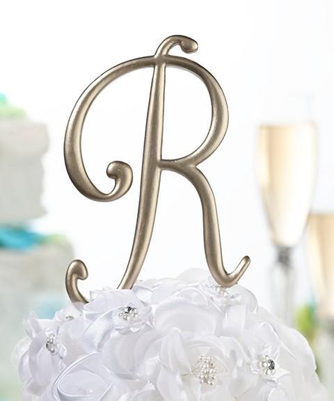 Cake Toppers Gold Letters : Gold Monogram Letter - Wedding Cake Topper! eBay