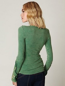 Newbie Long Sleeve Lace Crafted Cuff Thermal Top Kelly Green