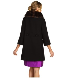 Auth New Kate Spade Cherie Three Quarter Sleeve 100 Wool Faux Fur Coat