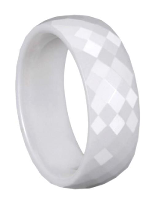 men 8mm faceted white ceramic wedding band comfort fit
