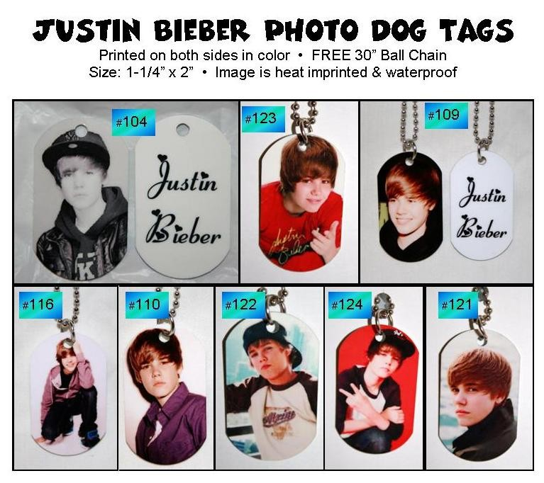 Justin Bieber Personalized Photo Dog Tags