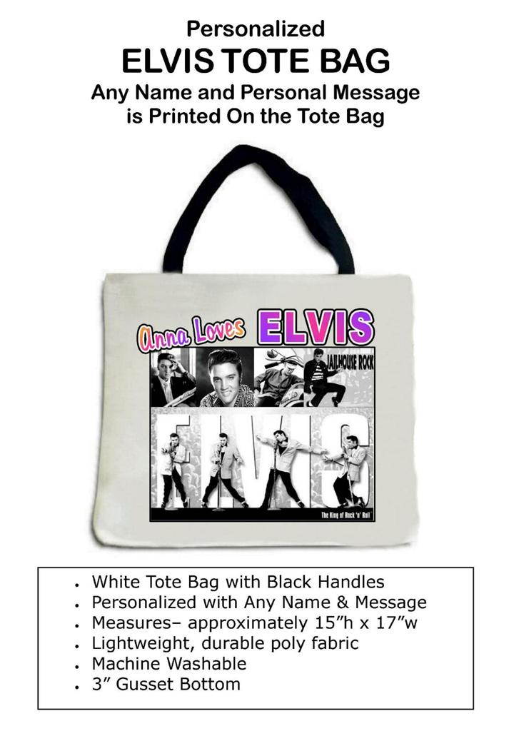 personalized elvis tote bag any name message printed great gift. Black Bedroom Furniture Sets. Home Design Ideas