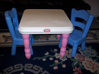 little tikes victorian table chair set pink blue tykes vgc will ship ebay. Black Bedroom Furniture Sets. Home Design Ideas