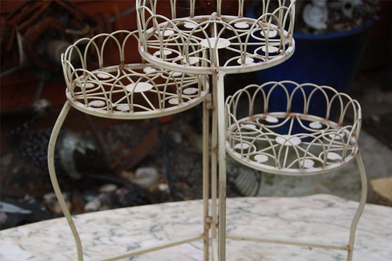 3 Tier 50s Metal Worked Pot Plant Stand Iron Worked