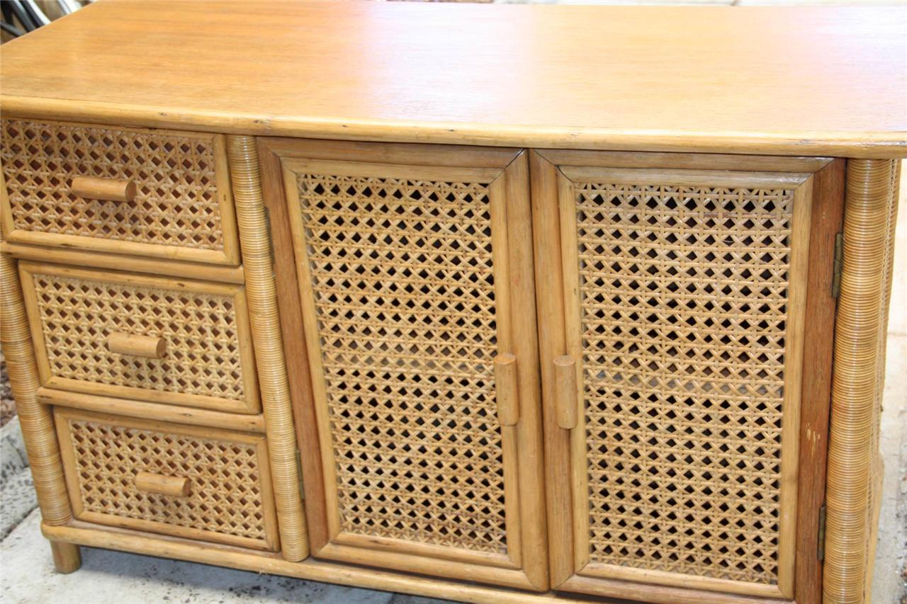 Bamboo Rattan Wicker Cabinet Side Storage Cupboard 3 Nice