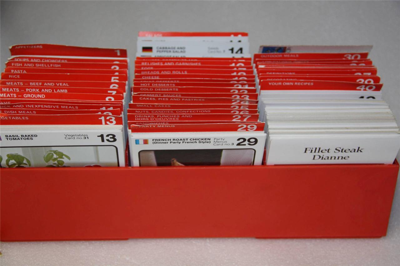 THE-AUSTRALIAN-COOKERY-CLUB-HUGE-COLLECTION-cooking-cards-IN-ORANGE-RETRO-BOX