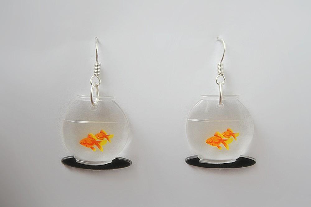 cute kitsch kawaii goldfish fish bowl earrings