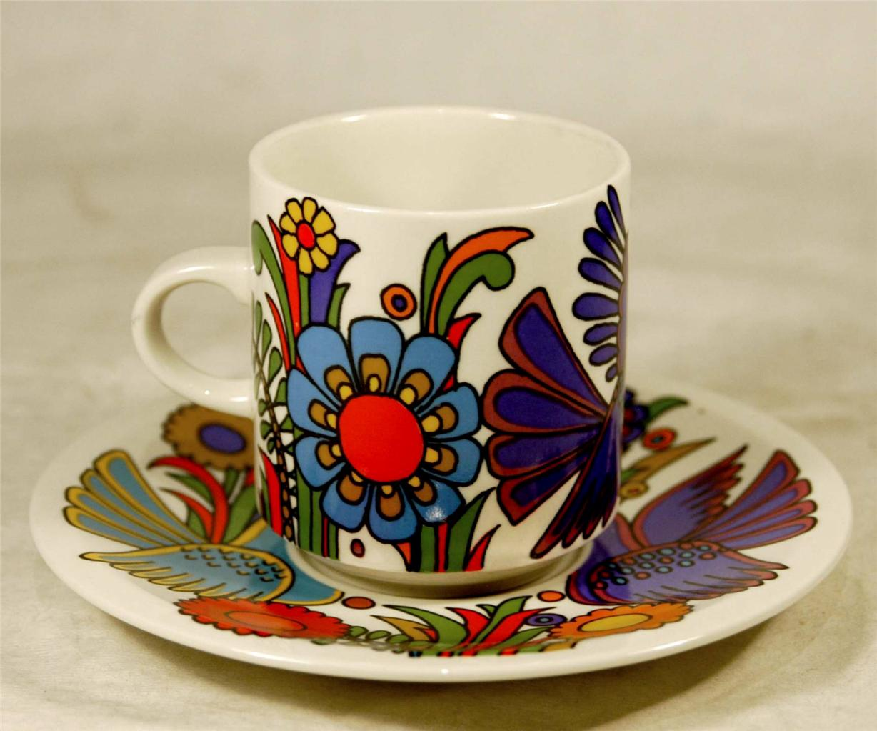 Vintage villeroy and boch acapulco coffee mug cup and saucer funky retro ebay - Funky espresso cups ...