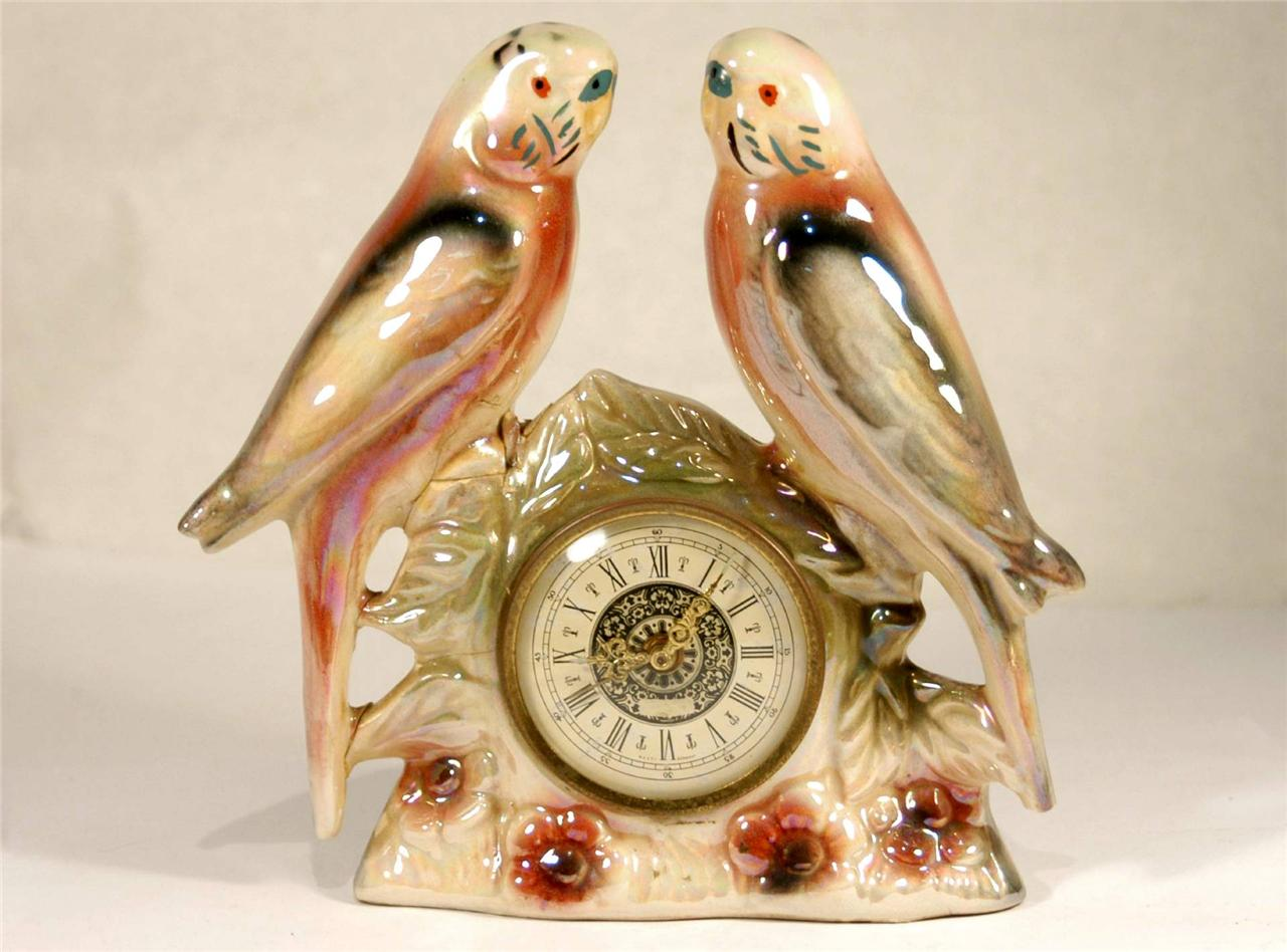 VINTAGE-BUDGERIGAR-CERAMIC-CLOCK-JEMA-Made-in-HOLLAND-2-PINK-Budgie-Birds