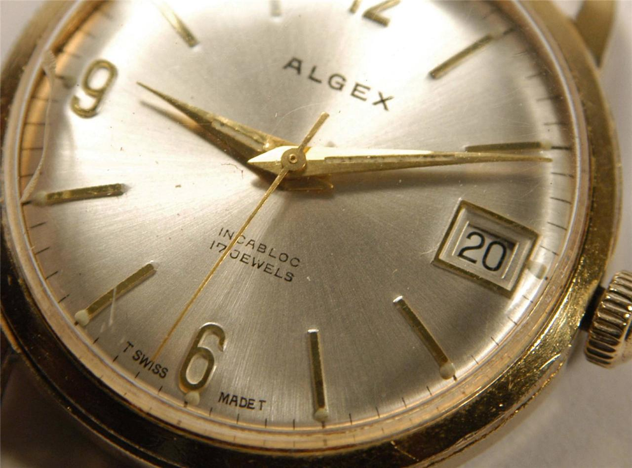 Vintage-Mens-ALGEX-SWISS-Mechanical-WATCH-Gold-Plated-17-Jewels-c1960s-34mm