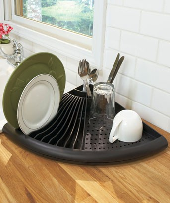 Space Saver Kitchen Corner Dish Dry Dryer Rack Holder Red Black Or White Ebay