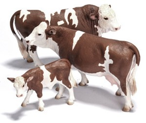 SCHLEICH-Simmental-Bull-Cow-Calf-Set-13640-13641-13642