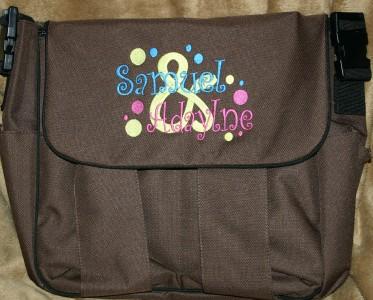 personalized diaper bag twins boy girl 2 free hat ebay. Black Bedroom Furniture Sets. Home Design Ideas