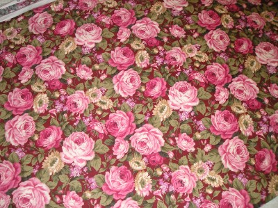 OVER 2 yrds.CABBAGE ROSE MATERIAL~Shabby~Cottage~Chic