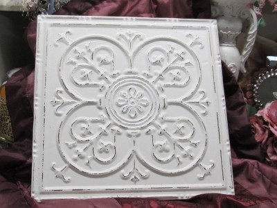 Shabby white ceiling tile wall decor cottage chic french for Shabby chic wall tiles