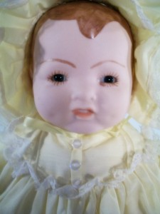 Unmarked Porcelain Doll Baby Doll 15 tall Yellow Gown