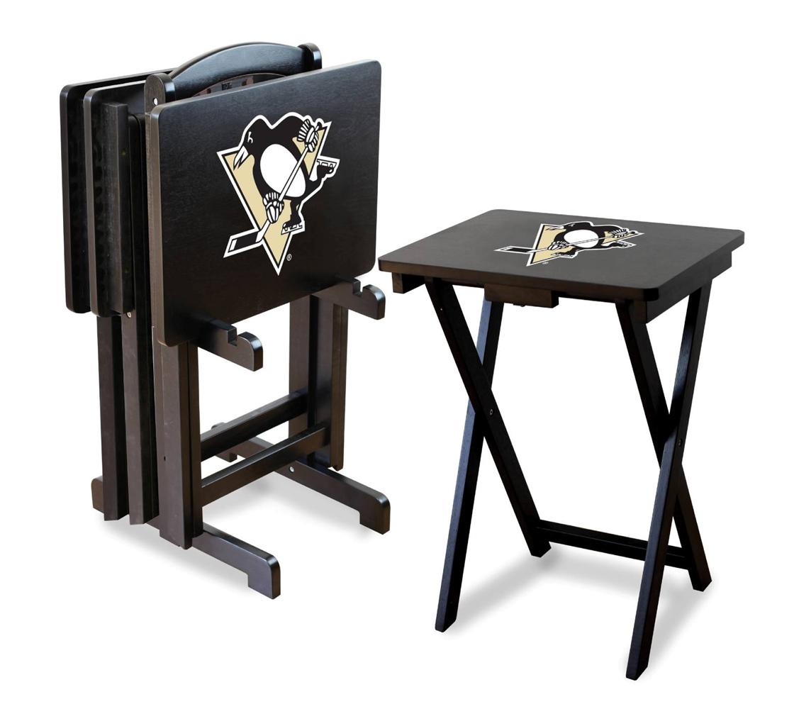 Pittsburgh Penguins Nhl Tv Trays Table Set Of 4 With Rack