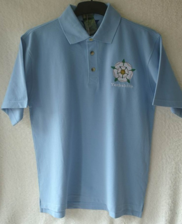Polo shirt yorkshire rose logo personalised embroidery